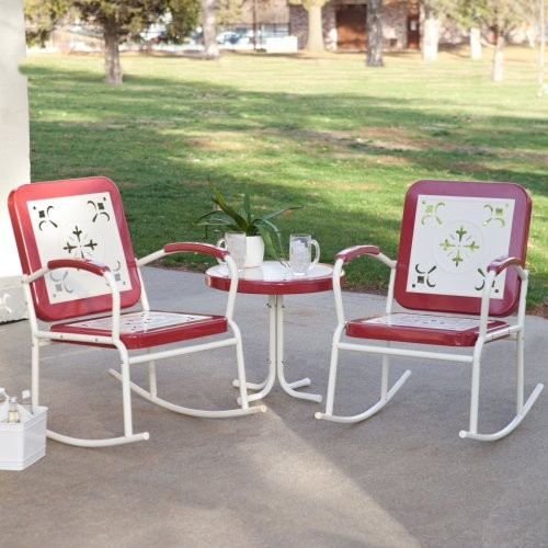 Paradise Cove Retro Metal Rocker Chat Set in Red modern-rocking-chairs
