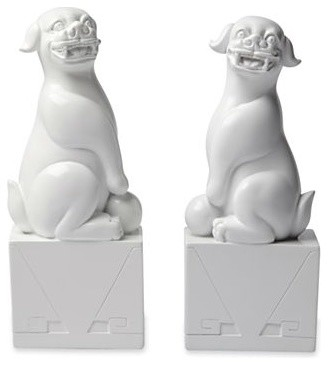 Happy Chic by Jonathan Adler Elizabeth Foo Dog Bookends, Set of 2 asian-bookends