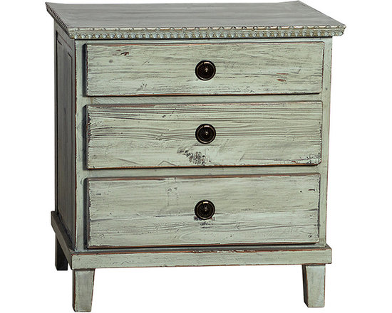 Soren Nightstand - The Soren nightstand is a charming accent for the country or cottage bedroom with its rustic style. Delivering three spacious drawers ideal for keeping personal items close to the bedside, this dresser is built in the Swedish style from reclaimed old wood. Antiqued hardware and a highly distressed hand-applied paint finish in your choice of gray or black completes the lovely rustic look of this nightstand.