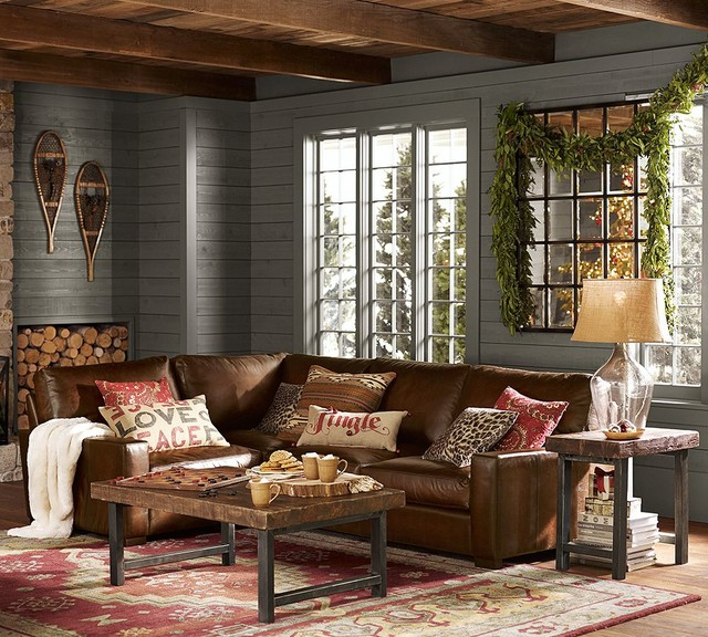 Turner Leather 3-Piece L-Shaped Sectional - traditional