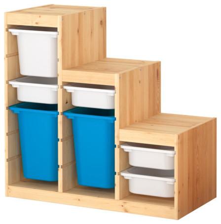 Trofast Storage Combination, Pine/White/Blue modern-toy-organizers