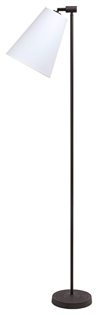 Contemporary Lights Up! Zoe White Linen Antique Iron Floor Lamp contemporary floor lamps