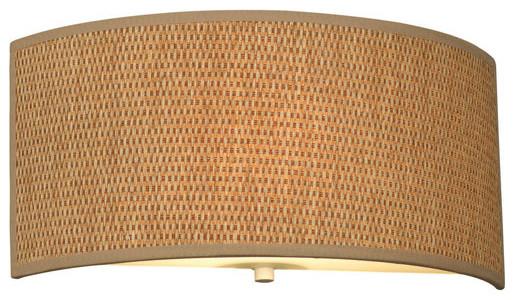 Cassandra Natural Grasscloth One-Light Fluorescent ADA Flush Wall Sconce contemporary-wall-lighting