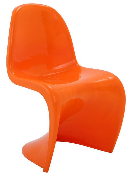 LexMod - Slither Dining Side Chair in Orange - Sleek and sturdy, rock back and forth in comfort with this injection molded marvel. Constructed from a single piece of strong ABS plastic, the �s� shaped Slither chair can be found in many fashionable settings. Perfect for dining areas in need of a little