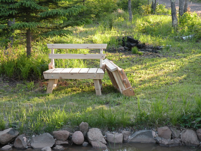 Folding Red Cedar Garden Bench - outdoor stools and benches - by
