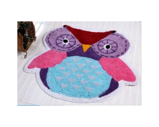 Rug Owl - 80 x 70 cm Bath Mat or Children Rug - Colourful cheerful and well-designed 100% cotton hand tufted rugs from Homescapes have been created especially for children rooms but can also be used in other rooms including bathroom. These are good quality tufted rugs and not be confused with the usual synthetic printed rugs, yet they are very economically priced