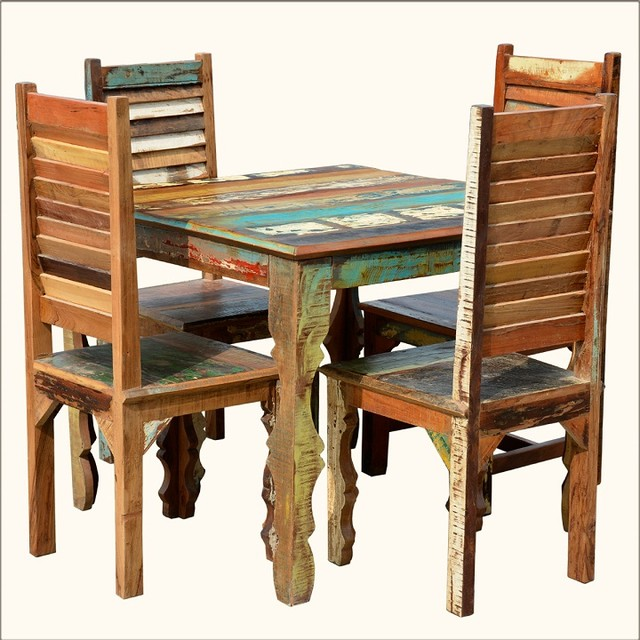 Rustic Reclaimed Wood Dining Table W Shutter Back Chairs For 4 People Eclec