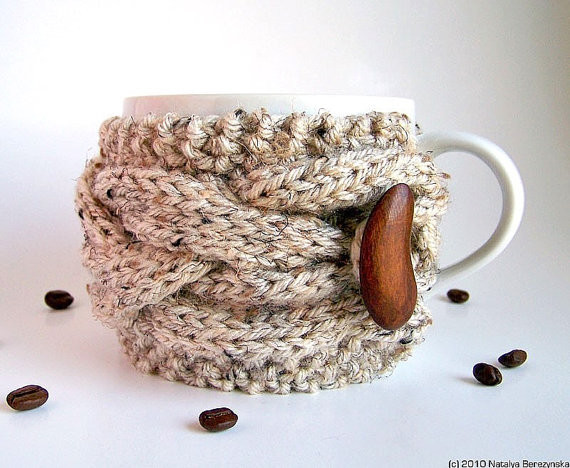 Oatmeal Cup Cozy by Natalyas Studio eclectic barware