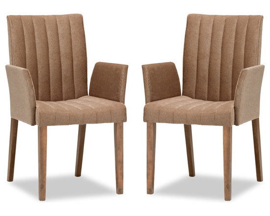 Strip Umber Fabric Upholstered Dining Armchair -