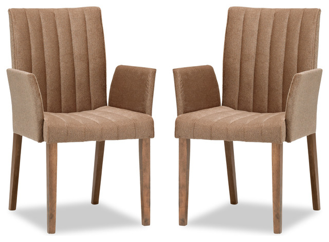 Strip Umber Fabric Upholstered Dining Armchair