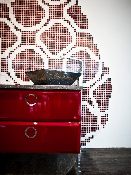 Metric Products- bathroom vanities and sink consoles - Gamma Decor Millennium vanity, gloss red, 2 drawer