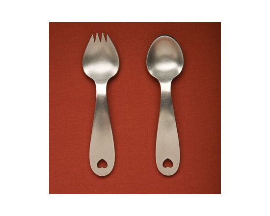 Beehive Heart Spoon Set - Perfect for baby's first utensils, the Heart Spoon Set by Beehive is hand cast in lead free pewter, and sure to be an heirloom.