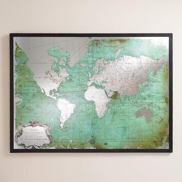 green mirrored world map home decor