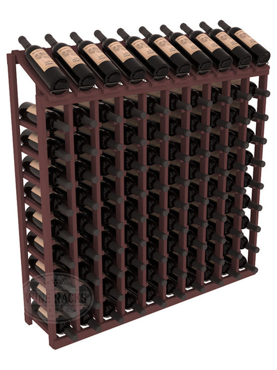 Wine Racks America - 100 Bottle Display Top Wine Rack, Walnut Stain - Make your top 10 vintages focal points of your cellar or store. Our wine cellar kits are constructed to industry-leading standards. You'll be satisfied. We guarantee it. Display top wine racks offer ample storage below a presentation row. Great as a stand alone unit or paired with other modular racks from our product lineup.