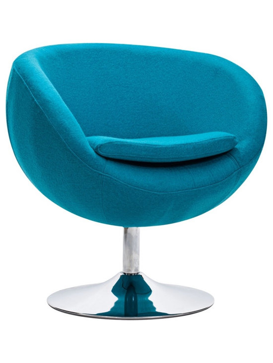 "Zuo - Zuo Lund Island Blue Arm Chair - Zuo Lund Island Blue Arm Chair Funky and bright round accent chair. Island blue fabric. Steel construction. Soft cushioned seat. Sleek chrome finish round base. Stylish seating for a living room or bedroom. A beautiful addition to your home from Zuo Modern. Assembly required. 28 1/2"" wide. 25"" deep. 29"" high.   Funky and bright round accent chair.  Island blue fabric.  Steel construction.  Soft cushioned seat.  Sleek chrome finish round base.  Stylish seating for a living room or bedroom.  A beautiful addition to your home from Zuo Modern.  Assembly required.  28 1/2"" wide.  25"" deep.  29"" high."
