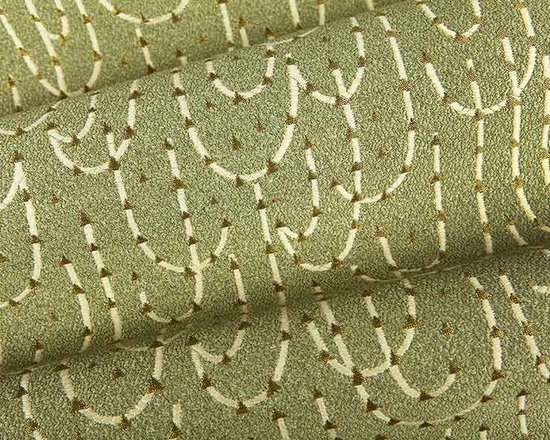 Skyrocket Upholstery Fabric in Mimosa - Skyrocket Upholstery Fabric in Mimosa is a European, green and cream medium duty fabric with a unique woven pattern with gold metallic flecks. Made in Switzerland with 38% linen, 36% polyester, and 26% viscose. Passes CB117E and 27,000 Wyzenbeek. Cleaning Code S – Solvent-based cleaning agents only (water-free, dry cleaning). Width: 56″ Repeat: 11 5/16″ W X 15 1/2″ H