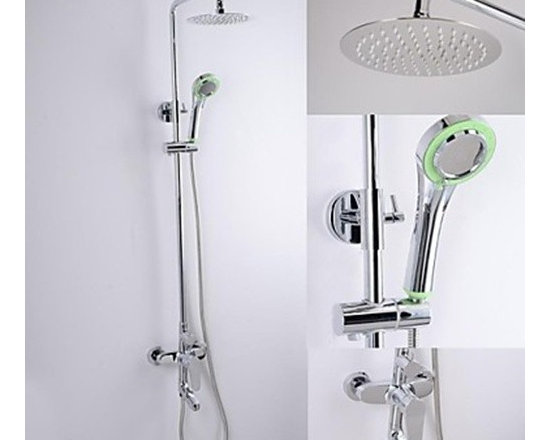 Shower Faucets - Contemporary Chrome Finish Brass Shower Faucet with 8 Inch Ultrathin Shower Head-- FaucetSuperDeal.com