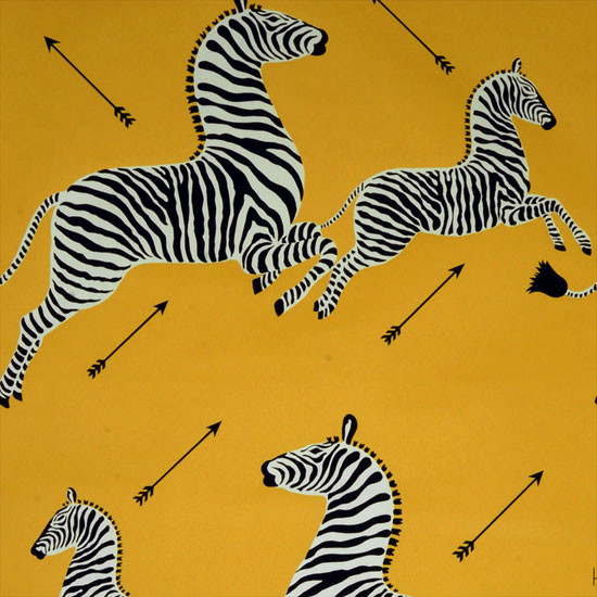 Zebras Wallpaper, Yellow eclectic wallpaper