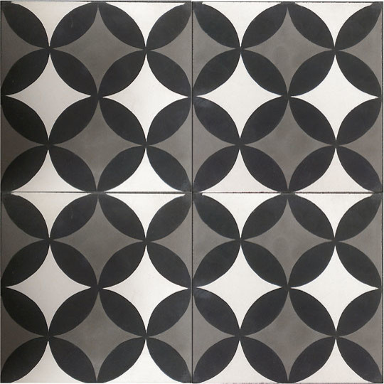 Handmade Cement Encaustic Tiles Classic Black White Gray Contempora