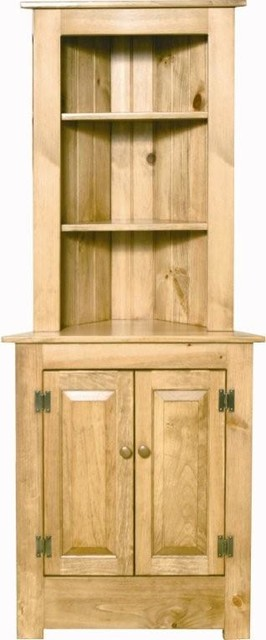 Farmhouse Corner Hutch in Pine Wood farmhouse-buffets-and-sideboards