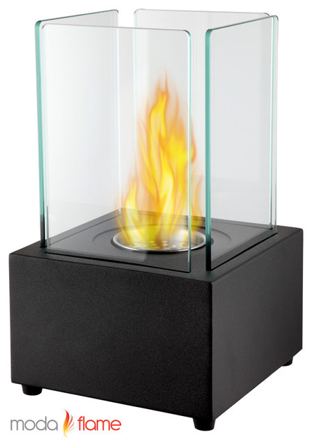 Moda Flame Pavilion Tabletop Firepit Bio Ethanol Fireplace in Black contemporary-fire-pits