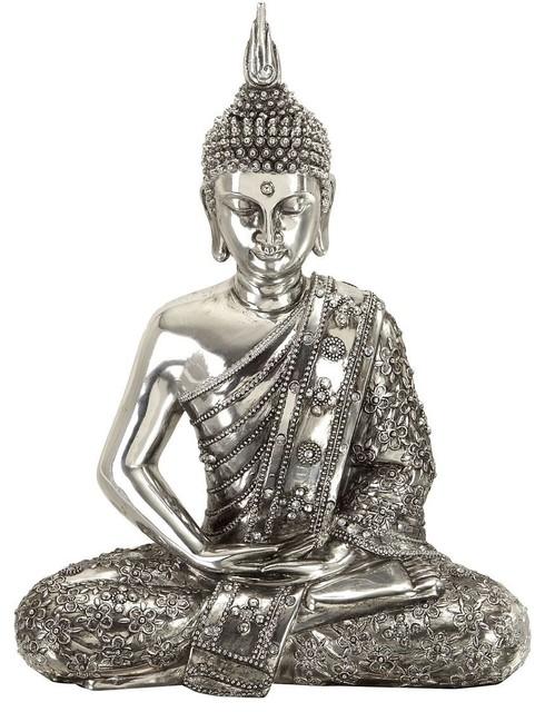 Polystone Sitting Buddha Depicts Meditating Buddha - Traditional - Artwork - by Modern Furniture ...
