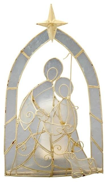 Nativity Tea-Light Holder in Capiz Seashell contemporary-holiday-decorations