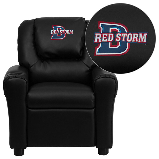 Dixie State College Red Storms Embroidered Black Vinyl Kids Recliner contemporary-kids-chairs