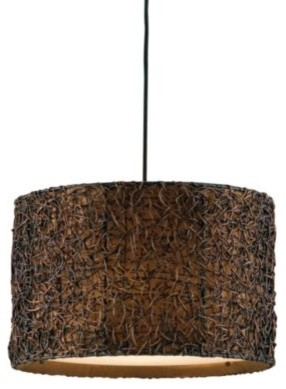 Uttermost Metal Knotted Rattan Espresso Drum Pendant Lamp contemporary-pendant-lighting