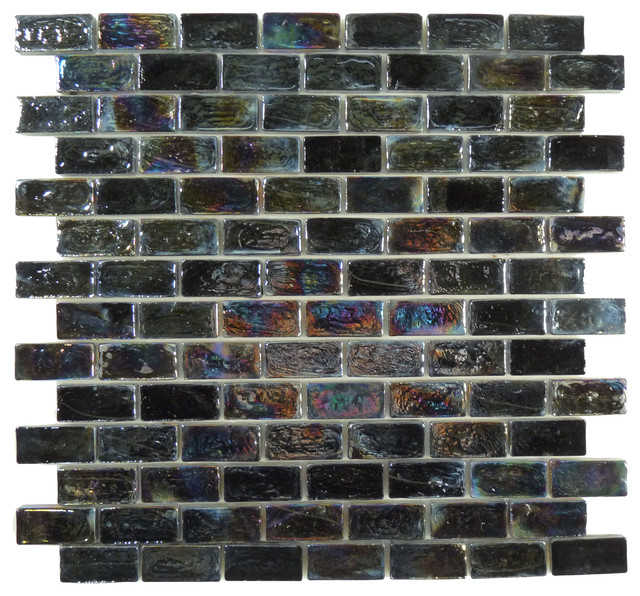 Onyx Uniform Brick Black Bricks Glossy and Iridescent Glass tropical-tile