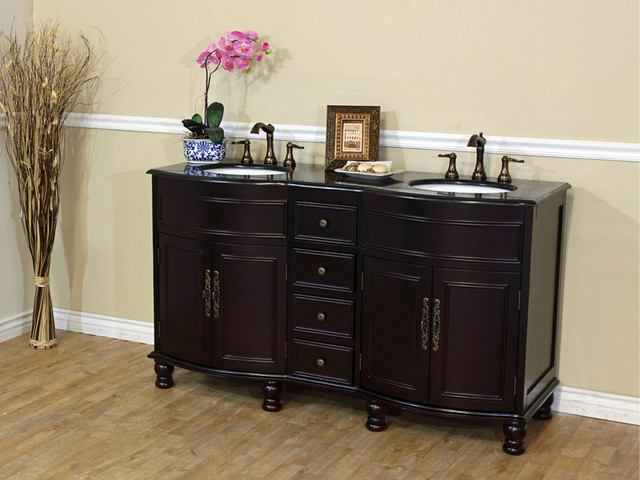 "62"" Somerset Double Sink Vanity - Dark Mahogany traditional"