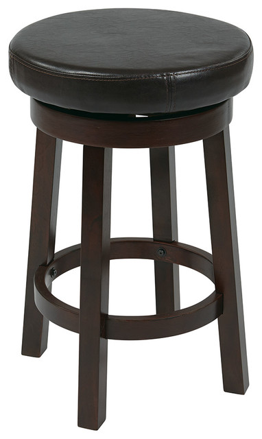 "Office Star Metro 24"" Round Barstool in Cream Faux Leather traditional-bar-stools-and-counter-stools"