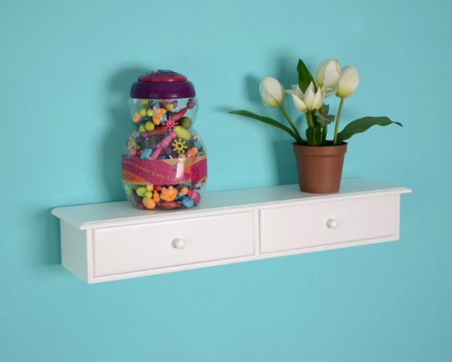 White Floating Shelf with Drawers - Modern - los angeles - by Justin ...