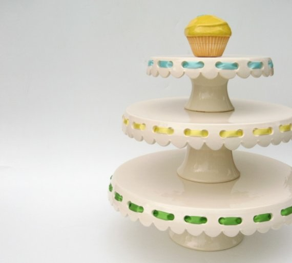 Eyelet Cake Plates with Ribbons by Jeanette Zeis Ceramics  serveware