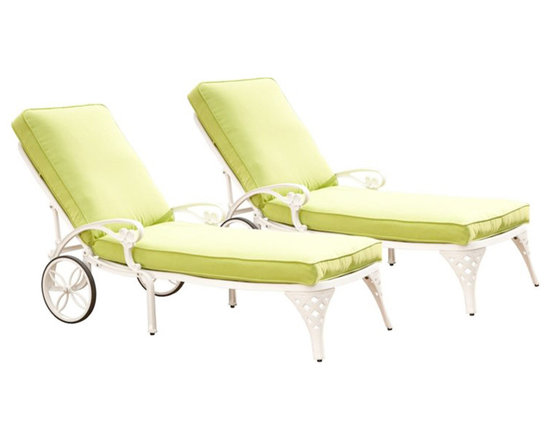 Home Styles - Home Styles Biscayne White Chaise Lounge Chairs Set of 2 Green Apple Cushions - Home Styles - Patio Lounges - 55528312 - Create an intimate conversation area with Home Styles� Biscayne Chaise Lounge Chair.