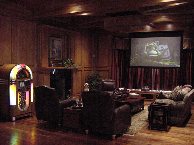 The Etagere Interior Design traditional-home-theater