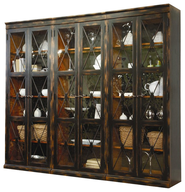 Hooker Furniture Sanctuary 3 Piece Display Cabinet Set In Ebony Traditional Storage Cabinets