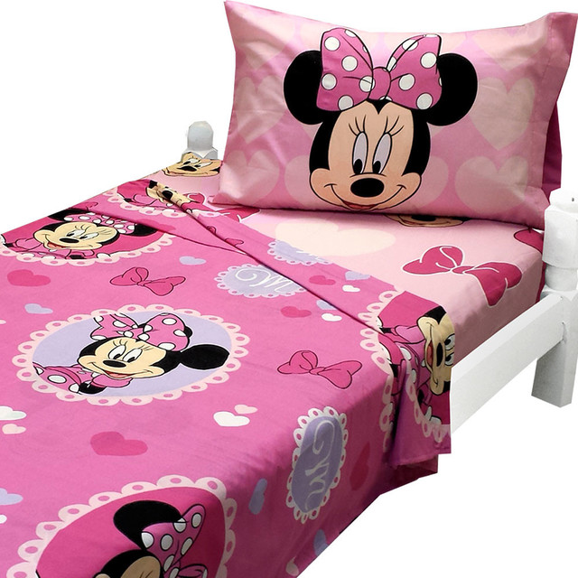 Minnie Mouse Twin Sheet Set Cameo Hearts Bedding - Contemporary - Kids ...
