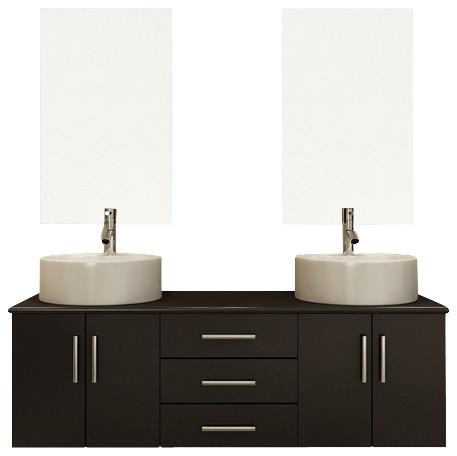 59 Phoenix Double Vessel Sink Wall Mounted Modern Bathroom Vanity Cabin