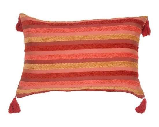 Pillow Decor - Pillow Decor - Chenille Stripes in Raspberry and Caramel Accent Pillow - This pillow is rich in personality and color with textured bands of chenille in muted red wine, soft raspberry rose and a golden caramel. The background fabric is raspberry and wine, with tiny glints of gold woven in. Soft raspberry tassels adorn the corners of this versatile rectangular pillow.