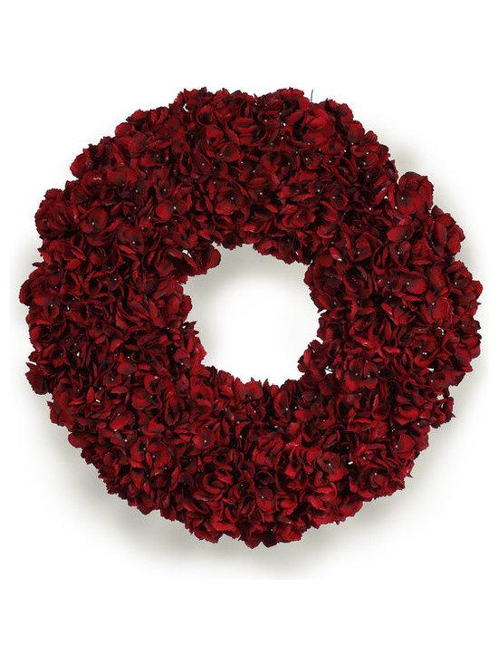 "Red Hydrangea Wreath - CRANBERRY RED HYDRANGEA WREATH 30"""