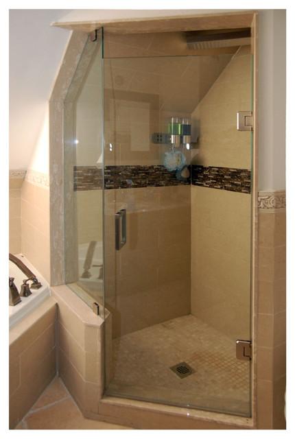 Freamless Glass Shower Doors & Mirrors bathroom