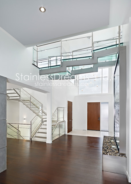 Stairs, railing, bridge, and doors modern-staircase