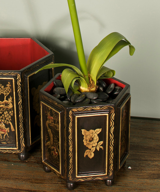 Chinoiserie Wooden Cachepot - Small - Transitional - Indoor Pots And Planters - by Bliss Home ...