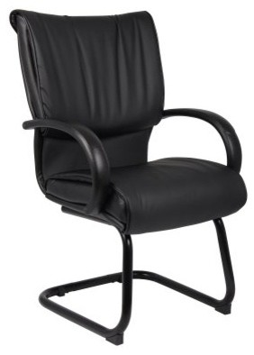 Boss Mid Back Black Leatherplus Guest Chair modern-task-chairs