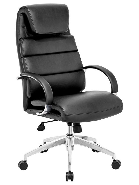 "Zuo - Zuo Lider Comfort Black Office Chair - Black faux leather office chair. This chair has a leatherette wrapped seat and back cushions with chrome solid steel arms with leatherette pads. There is a height and tilt adjustment with a chrome steel rolling base. Chrome finish solid steel arms with leatherette pads. Height and tilt adjustment. Crome finish steel rolling base. A chic addition to your home from Zuo Modern. 27 1/2"" wide. 27 1/2"" deep. Height adjusts from 44 1/2"" - 47 3/4"". Seat is 18"" square. Seat height adjusts from 20"" - 23 3/4"". Arm height adjusts from 27"" - 30"". Fully assembled.  Black faux leather office chair.  Leatherette wrapped seat and back cushions.   Chrome finish solid steel arms with leatherette pads.  Height and tilt adjustment.  Crome finish steel rolling base.  Chrome solid steel arms with leatherette pads.   Height and tilt adjustment.  A chic addition to your home from Zuo Modern.  Some assembly required.  27 1/2"" wide.  27 1/2"" deep.  Height adjusts from 44 1/2"" - 47 3/4"".  Seat is 18"" square.  Seat height adjusts from 20"" - 23 3/4"".  Arm height adjusts from 27"" - 30""."