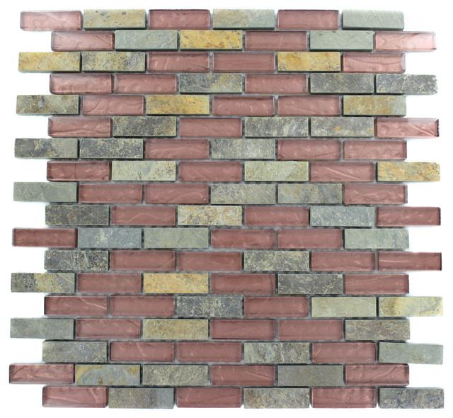 Geological Brick Multicolor Slate & Rust Glass Tiles 1/2x2 eclectic-tile