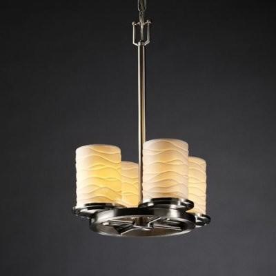 Justice Design Group Limoges POR-8765-10-WAVE-NCKL Dakota 4-Light Ring Chandelie modern-chandeliers