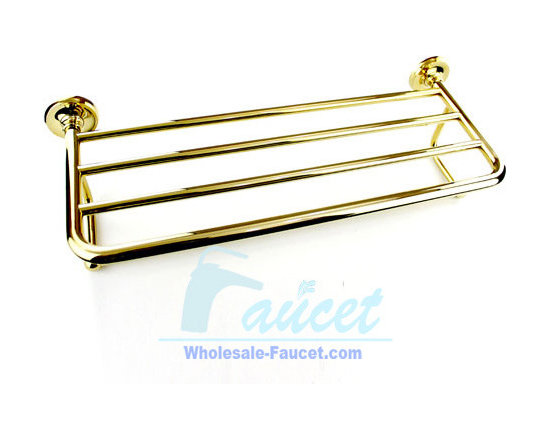 "Luxury Polished Brass Towel Bar With Shelf - ●24"" Polished Bras Bathroom Towel Bar With Shelf J101"