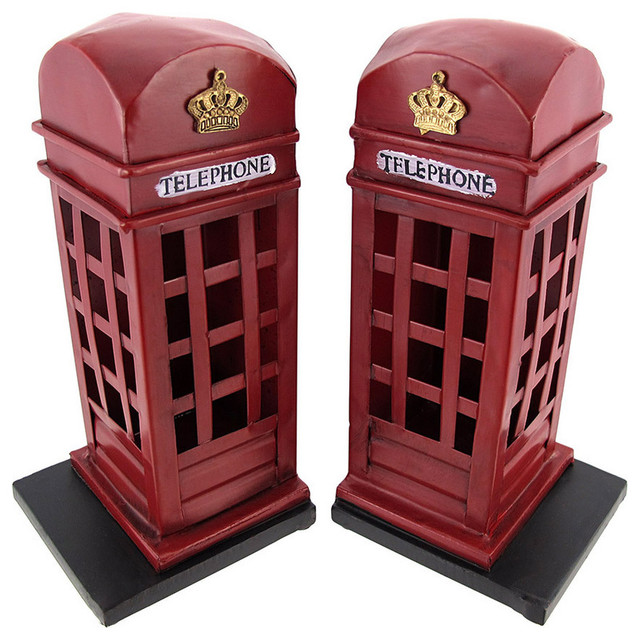 Retro British Phone Booth Metal Bookends Hand Painted - Contemporary - Bookends - by Zeckos